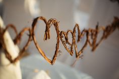 Aisle decoration. Hearts and branches.