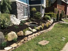 Front Garden Landscape, Front Yard Landscaping, Natural Stone Wall, Natural Stones, Tiered Garden, Professional Landscaping, Garden Beds, Pathways, Paths