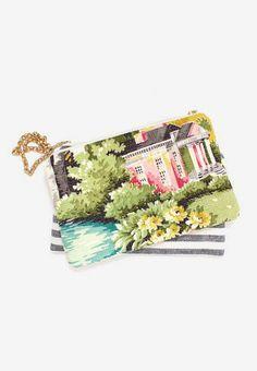 Floral print clutch purse vintage barkcloth landscape