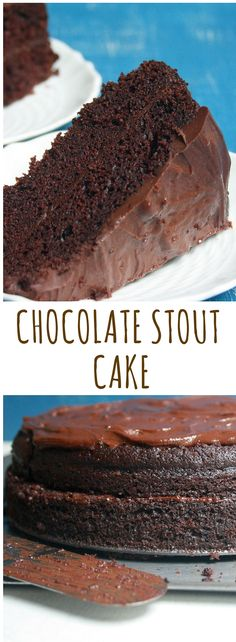 Rich, moist chocolate cake made with dark stout, topped with a bitter chocolate ganache infused with stout too!