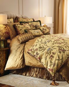 """Austin Horn Collection """"Chirping"""" Bed Linens. Gold diamond-trellis linens and dust skirt by Dian Austin Couture Home® are silk."""