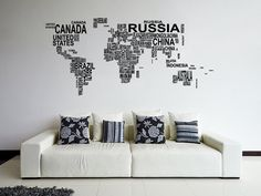 Amazon.com: ik1347 Wall Decal Sticker world map Bedroom Living Room: Home & Kitchen
