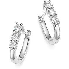 Bloomingdale's Diamond Three Stone Small Hoop Earrings in White Gold, - Earrings 14k White Gold Earrings, Platinum Earrings, Diamond Hoop Earrings, Circle Earrings, Silver Hoop Earrings, Diamond Studs, Stud Earrings, Diamond Necklaces, Jewellery Earrings