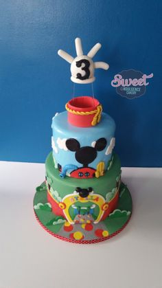 Mickey Mouse club house 3rd birthday cake. wedding cake, birthday cake, custom cake, baby shower cake