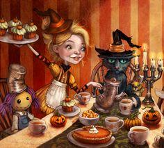 Toma té Akbar para pasear hasta la mañana con Halloween!