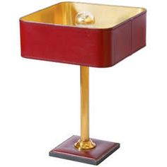 Jaques Adnet Red Leather Table Lamp