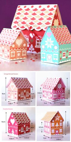 New Diy Box Template Printables Gingerbread Houses Ideas Gift Boxes Uk, Diy Gift Box, Diy Box, Christmas Gift Baskets, Christmas Crafts, Foam Crafts, Paper Crafts, Paper Toys, Paper Art