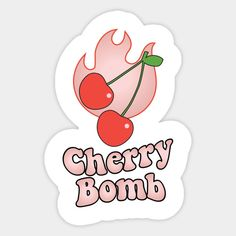 Cherry Bomb and Light Peach Blush Flaming Design Pop Stickers, Tumblr Stickers, Printable Stickers, Korean Aesthetic, Retro Aesthetic, Cherry Drawing, Korean Stickers, Kpop Diy, Cute Patches