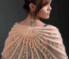 Fanned Three-Fan Shawl Knitting Pattern and more textured shawl knitting… Beginner Crochet Projects, Crochet For Beginners, Knitting Projects, Crochet Cape, Knit Crochet, Knitting Patterns Free, Free Knitting, Knitting Books, Lace Cardigan