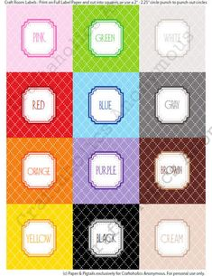 super cute {and FREE!} color label printable! so great for organizing about anything!