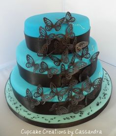 Cake with edible black butterflies.  My perfect cake