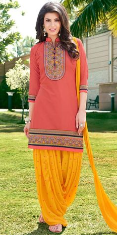 Fashionable Peach And Yellow Cotton Patiala Suit. Trajes Pakistani, Pakistani Dresses, Indian Dresses, Indian Outfits, Patiala Dress, Patiala Salwar Suits, Salwar Kameez Online, Punjabi Dress, Patiala Suit Designs