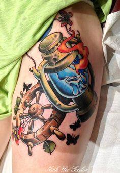 Sailor, Ship Wheel and Lantern New School Tattoo by NickTheTailorTattoo