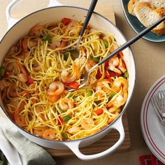 Christmas Eve Confetti Pasta Recipe from Taste of Home. Some have recommended adding butter to make more of a sauce for this pasta. Seafood Dishes, Pasta Dishes, Seafood Recipes, Pasta Recipes, Dinner Recipes, Cooking Recipes, Healthy Recipes, Dinner Ideas, Lunch Ideas