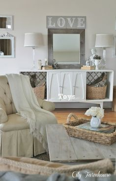 DIY:: Farmhouse Family Room Reveal-Thrifty, Pretty & Functional ! Tons of Beautiful Farmhouse DIY Decor Ideas ! (From repurposeing, thrift stores, and estate sales) Her Taste is Timeless & Impeccable - All on a Budget !