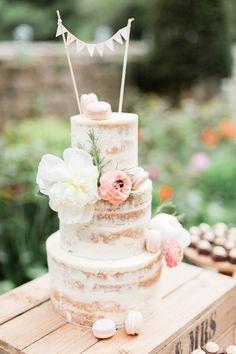 Semi Naked Wedding Cake | Katy Melling Photography | http://www.rockmywedding.co.uk/sarah-chris/