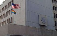 OLD News I MISSED: US Embassy in Israel Flies LGBT Flag for First Time in History | June 12, 2014 in Tel Aviv, Israel ... this is an abomination, mocking God who created woman from man. WHY is government so involved in pushing sexual matters when they should be doing their job? THIS IS EVIL, and to do it in another's 'yard'!