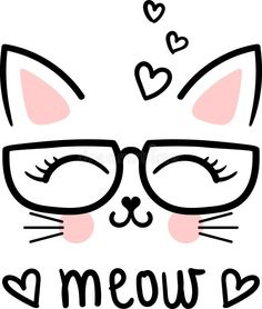 Cute Meow, Cartoon Cat With Glasses. Kawaii Drawings, Easy Drawings, Cat Birthday, Cat Party, Doodle Art, Cute Wallpapers, Cute Art, Painted Rocks, Art Sketches