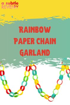 Rainbow paper chain garland is so easy to make. All the kiddos can help make this DIY, no matter their age. It will also brighten up any space to make it a little more fun. Sharing you on this pin ways to use a paper chain garland! #papergarland #rainbowpaper #chaingarland #DIYgarland #DIYpapergarland Flag Garland, Hanging Garland, Diy Garland, Garlands, Cool Things To Make, How To Memorize Things, Rainbow Paper, Paper Chains, Cute Pumpkin