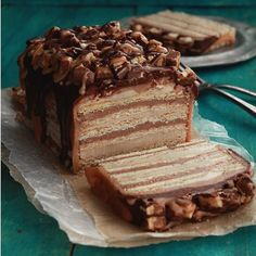 Snickers no-bake cake - easy to assemble, and lots of variations, including subbing out Nutella for the peanut butter - yum!