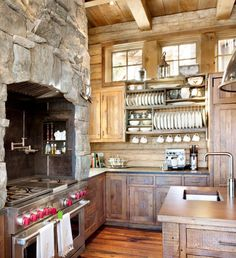 Rustic, Farmhouse and Country Kitchens - 10 Elements to Incorporate into Your Space - if this is your design style, here are the materials, colors, lighting, etc. for you - Rustic Kitchen, Peace Design - via Canadian Log Homes