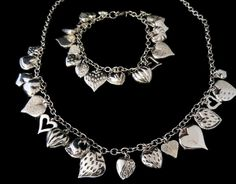 Heart Charms Bracelet Necklace Set Sterling Silver ***ALSO SEE Vintage Jewelry at: http://MyClassicJewelry.com/shop