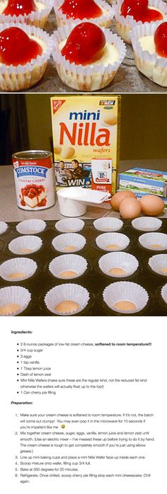 Mini Cheesecakes Sounds like the general consensus is that 2 eggs should be used. Mini Cheesecakes Sounds like the general consensus is that 2 eggs Mini Desserts, Easy Desserts, Dessert Recipes, Dessert Simple, Mini Cheesecakes, Mini Cheesecake Bites, Mini Cheesecake Recipes, Raspberry Cheesecake, Mini Pies