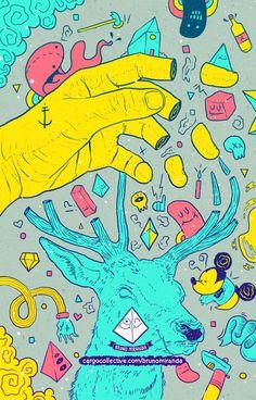 Bruno Miranda nos muestra desde Brasil un portfolio con un universo gráfico surrealista y psicodelico repleto de calaveras y colores sólidos en la mayoría de sus brillantes ilustraciones inspiradas por los videojuegos y la música.