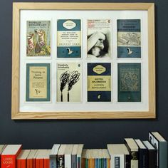 Gorgeous wall art idea using Postcards From Penguin: 100 Book Jackets in One Box. Image from: www.apartmenttherapy.com