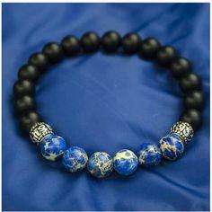 Mavi Azurit - Onix Doğal Taş Bileklik