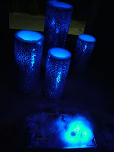 "Blue LED ""ice cubes"" that we put into these awesome candles we found at Marshalls."