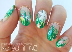 naileditnz:    I tried out one of Robin Moses' Easter nail art tutorials! I looooove it! It was my first time using acrylics for a whole mani too - and I made quite a mess of my hands! Check it out here :).