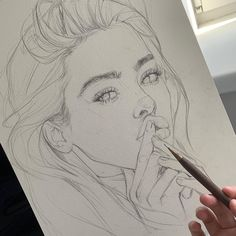 Sketch by Humid Peach. Humid Peach is the name of the artist whose real name is Ksenia Kondyleva. Continue Reading and for more sketch → View Website Girl Drawing Sketches, Pencil Art Drawings, Art Drawings Sketches, Cute Drawings, Drawing Drawing, Amazing Drawings, Realistic Drawings, Aesthetic Art, Art Sketchbook