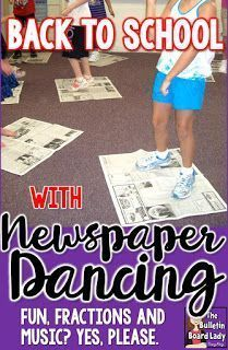 Back to School with Newspaper Dancing – A great idea to a first day icebreaker or anytime fun! Use music, movement, fractions and fun to get students smiling and dancing. Music and newspapers. A playlist and more ideas for dancing and Movement Activities, Music Activities, Preschool Music, Teaching Music, Dance Lessons, Music Lessons, Piano Lessons, Elementary Music, Elementary Schools