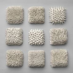 Set of 9 Textured Wall Tiles -  3d Wall Sculpture Art Decor Porcelain Contemporary Ceramic. $3,390.00, via Etsy.