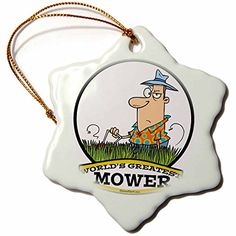 3dRose orn_103304_1 Funny Worlds Greatest Lawn Mower Cartoon Snowflake Ornament Porcelain 3Inch -- This is an Amazon Affiliate link. You can get additional details at the image link.