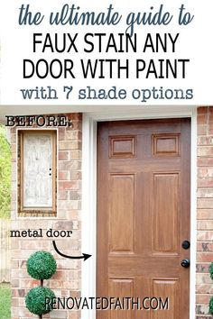 Tired of having an ugly metal or fiberglass front door? The entrance of your home is the first impression which makes painting wood grain on a steel door a budget-friendly way to upgrade - if it's done right! This easy step-by-step tutorial with video will show you how to make a metal door look like stained wood with latex paint samples and glaze! This process is also great for interior doors, fiberglass doors and even garage doors. Also, you can apply a more rustic farmhouse other shades Furniture Projects, Diy Furniture, Diy Projects, Home Renovation, Paint Samples, Diy Décoration, Steel Doors, Farmhouse Furniture, Painted Doors