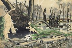 Charles Ephraim Burchfield (1893-1967)  Swamp in Spring  signed and dated 'C Burchfield 1918' (lower right)--dated again twice 'April 6, 1918' and inscribed with title (on the reverse) watercolor, gouache and pencil on board  18¼ x 26 in. (46.4 x 66 cm.)