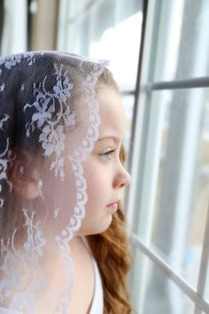 Items similar to Lace mantilla First Communion veil on Etsy First Communion Veils, Girls Dresses, Flower, Trending Outfits, Unique Jewelry, Lace, Handmade Gifts, Pretty, Kids