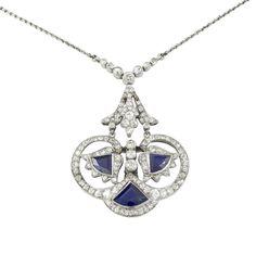 An Art Deco sapphire and diamond pendant - Bentley & Skinner