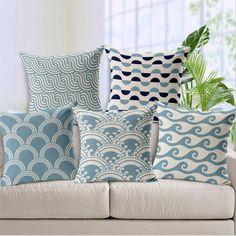 Cheap cotton cushion, Buy Quality sofa cushion directly from China pattern cushion Suppliers: Light Blue Chevron Linen Cotton Cushion Wave Pattern Home Decor Pillow Decorative Throw Pillows sofa cushions Sofa Throw Pillows, Cushions On Sofa, Decorative Throw Pillows, Decor Pillows, Table Sofa, Sofa Chair, Garden Bench Cushions, Home Sofa, Pillows