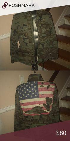 bad715c833d Men's Demin&suppy jacket Men's Ralph Lauren Denim & Supply 3 quarter army  fatigue and American flag