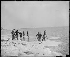 Kids ride ice cakes, South Boston by Boston Public Library, via Flickr