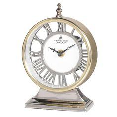 Gold Aluminium Two Tone Round Mantel Clock