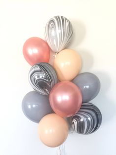 Rose Gold Balloon Bouquet | Blush and Gray Balloon Bouquet | Rose Gold and Black Balloons | Rose Gold Bridal Shower Decor | Rose Gold Weddi by ConfettiPaperParty on Etsy https://www.etsy.com/listing/584260028/rose-gold-balloon-bouquet-blush-and-gray