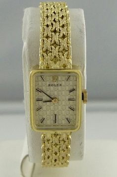 LADIES 14K YELLOW GOLD VINTAGE ROLEX MESH MANUAL WIND WATCH 15mm 1800