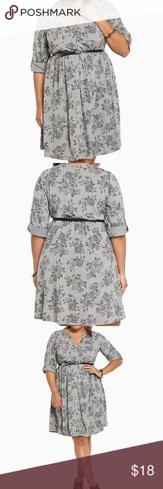 """Rose Print Button Front Shirt Dress - Torrid 2 *Belt not included  Your """"OMG I have nothing to wear"""" worries are solved this shirt dress. The stretchy-soft heather grey knit is romantic without being schmalzty thanks to a faded rose print.?  Torrid Size 2 torrid Dresses"""
