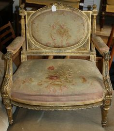 A C19th French Gilt Salon Chair with floral upholstered seat and back, an acanthus running border decoration, raised on tapering fluted legs. A genuine chair from c.1850/1860 in original condition,   SOLD  www.redantiques.com