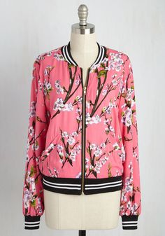 Greatest Blossom Divisor Jacket in Pink - Pink, Green, Black, White, Multi, Floral, Casual, 80s, Summer, Variation, 1, Short, Pockets, Vintage Inspired, Long Sleeve, Spring, Fall, Woven, Best, Exclusives