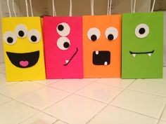 Monster bags for party favors! Love these cute faces!